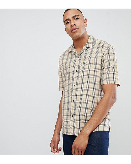 e3512ecf6de9 ASOS - Tall Oversized Boxy Check Shirt In Brown With Revere Collar for Men  - Lyst ...