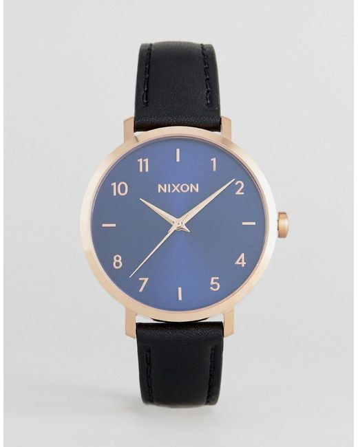 Nixon - Arrow Black Leather Watch for Men - Lyst