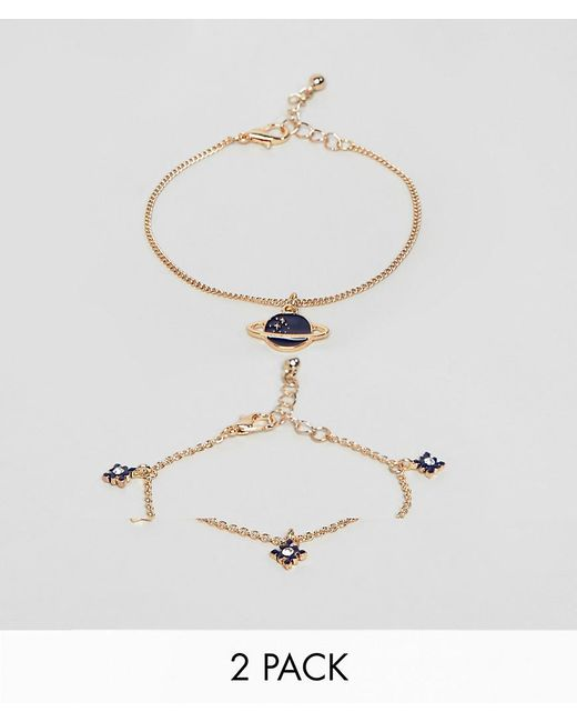 ASOS - Metallic Pack Of 2 Bracelets With Star And Planet Design In Gold - Lyst