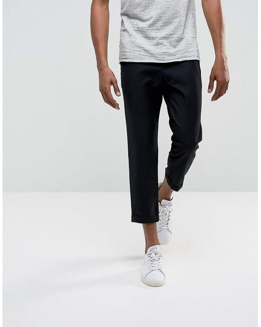 Lyst Bellfield Cropped Pants With Pleated Front In Black For Men