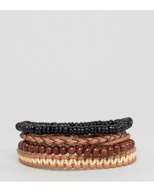 ASOS   Multicolor Bead And Braid Leather Bracelet Pack for Men   Lyst