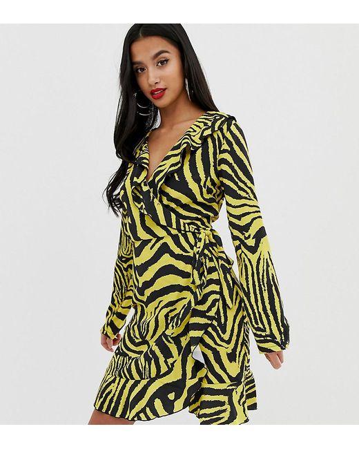 b7c292fb70ed John Zack - Green Ruffle Wrap Front Midi Tea Dress In Yellow Zebra Print -  Lyst ...
