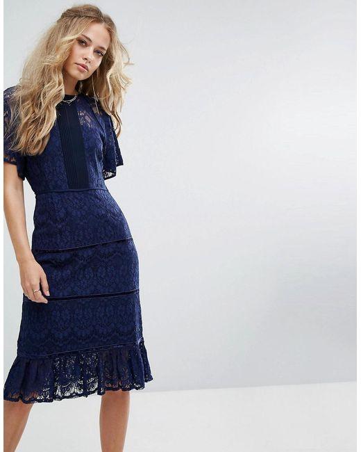 Foxiedox - Blue Lace Panel Midi Dress - Lyst