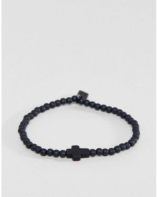 Icon Brand - Cross Beaded Bracelet In Black for Men - Lyst