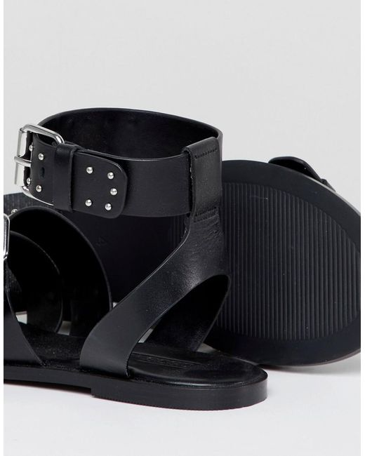 DESIGN Fonzy Leather Studded Gladiator Sandals - Black Asos 8fN8P
