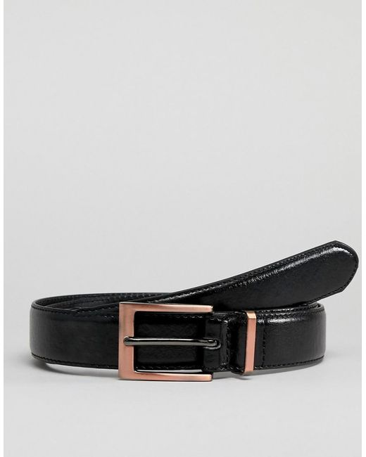 New Look - Faux Leather Belt With Rose Gold Buckle In Black for Men - Lyst