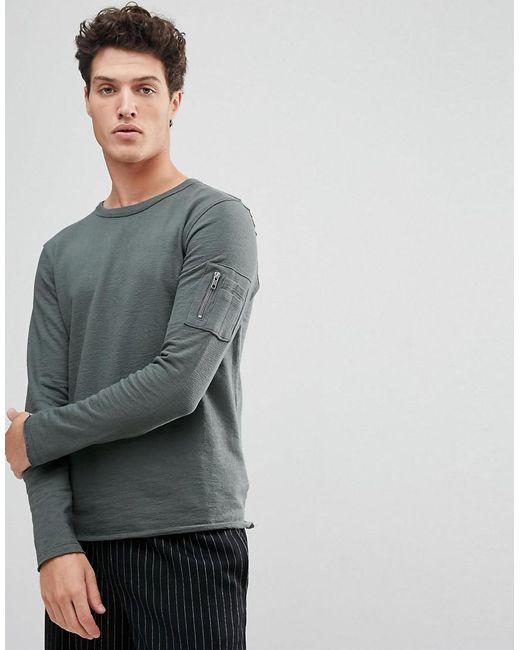 SELECTED - Gray Sweatshirt With Raglan Sleeve And Straight Hem for Men - Lyst