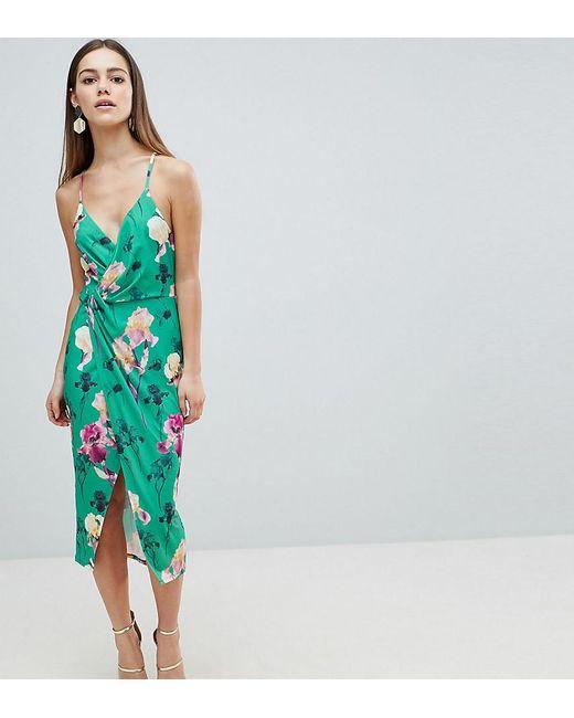 ASOS - Multicolor Asos Design Petite Slinky Floral Cami Drape Midi Dress - Lyst