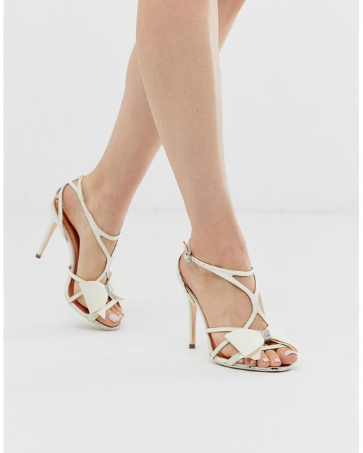 d58750d10382 Ted Baker - White Ivory Satin Bow Detail Heeled Sandals - Lyst ...