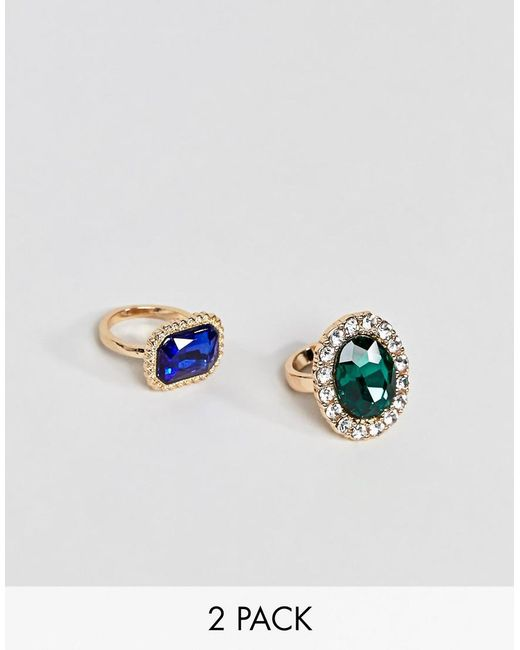 ASOS - Metallic Pack Of 2 Rings In Vintage Style Statement Jewel Design In Gold - Lyst