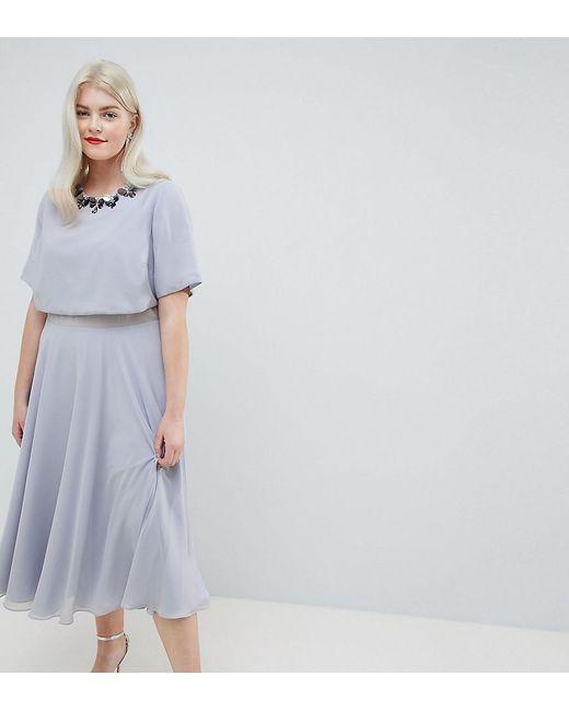 ASOS - Multicolor Asos Design Curve 3d Embellished Crop Top Midi Skater  Dress - Lyst ... 036234d61
