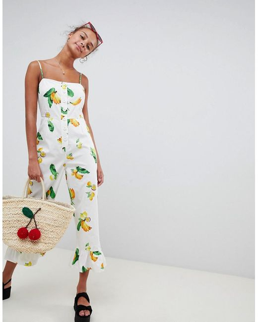 ASOS - Multicolor Cotton Frill Hem Jumpsuit With Square Neck And Button Detail In Fruit Print - Lyst