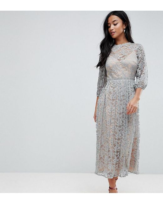 d4780c75123 Little Mistress - Green All Over Lace Maxi Dress With Balloon Sleeve Detail  - Lyst ...