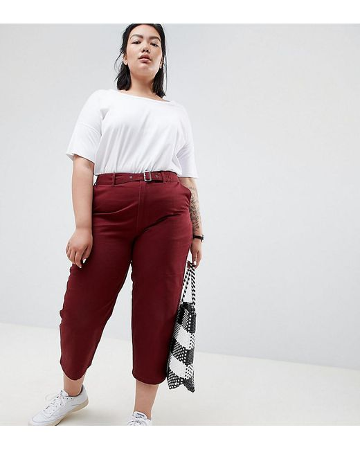 3ef856aeb115d9 ASOS - Red Asos Design Curve Chino Pants With Self Belt - Lyst ...