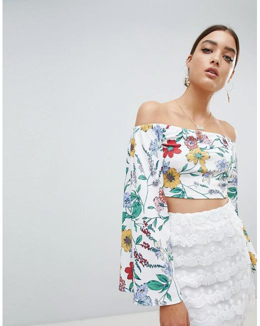 Lyst Prettylittlething Floral Bardot Crop Top With Back Tie In White