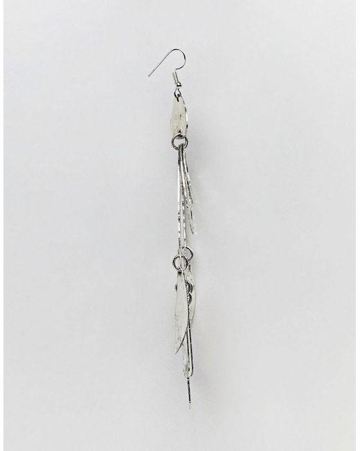 DESIGN hammered shape stone drop earrings - Silver Asos Xg9E2zZ