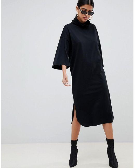 006469791c3f7 ASOS - Black High Neck Midi Swing Dress With Trumpet Sleeves - Lyst ...