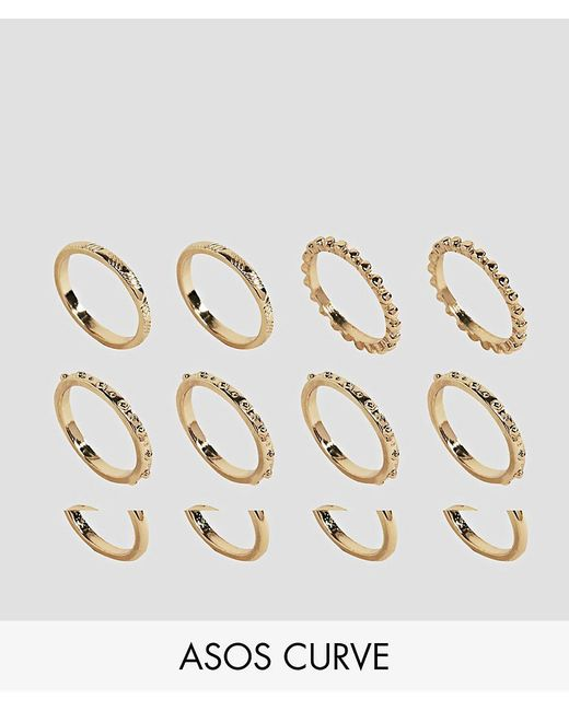 ASOS - Metallic Pack Of 12 Ball Detail And Engraved Rings - Lyst
