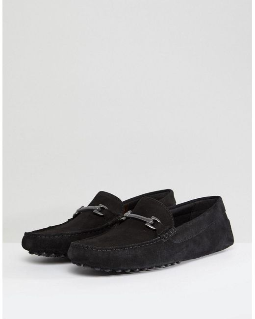 ASOS DESIGN Wide Fit Driving Shoes In Black Suede With Snaffle really cheap price iJIOmXGvTc