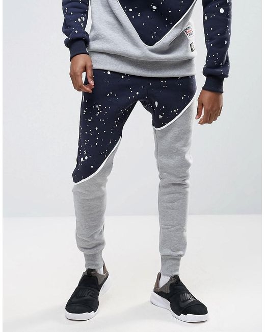 Abuze London | Blue Splash Panel Joggers for Men | Lyst