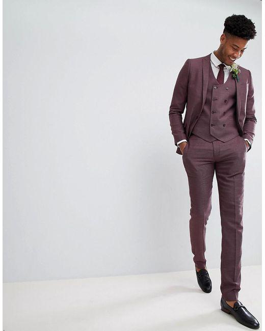 TALL Wedding Skinny Suit Trousers In Damson Micro Texture - Purple Asos 9Vw6FZ5