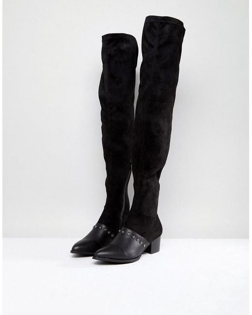 055807193761 ... PRETTYLITTLETHING - Black Studded Over The Knee Boot - Lyst
