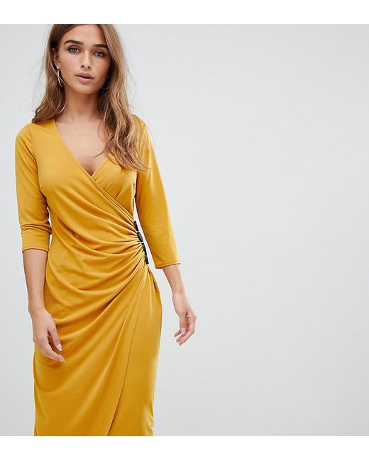 c080b57923f5 ASOS - Yellow Asos Design Petite Ruched Midi Wrap Dress With Contrast  Buttons - Lyst ...