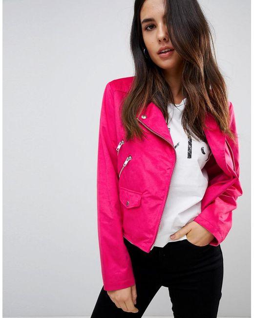 ASOS - Pink Suedette Biker Jacket - Lyst