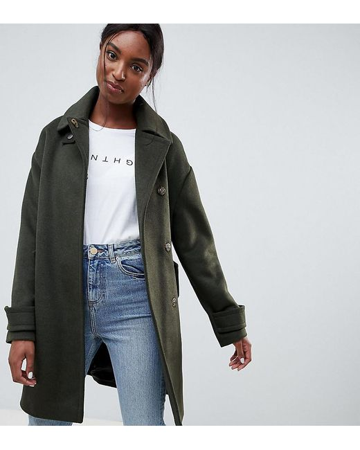 ASOS - Green Asos Design Tall Coat In Twill With Buckle Neck - Lyst