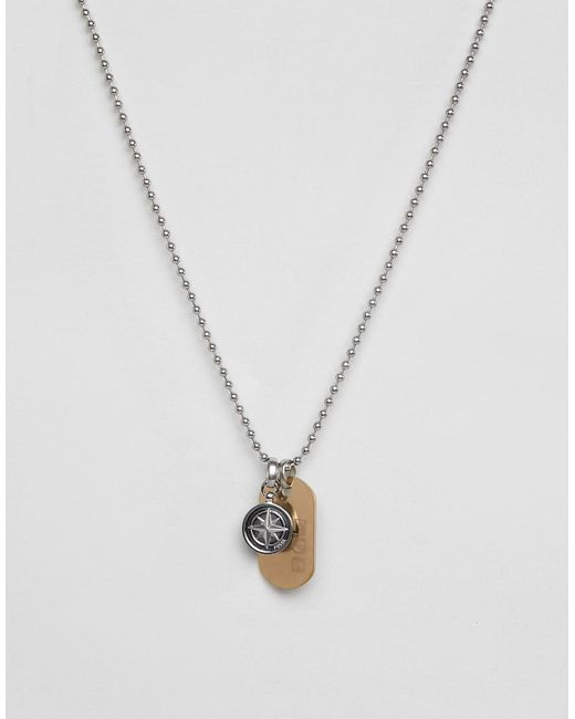 Fossil - Metallic Mens Stainless Steel Vintage Look Necklace for Men - Lyst