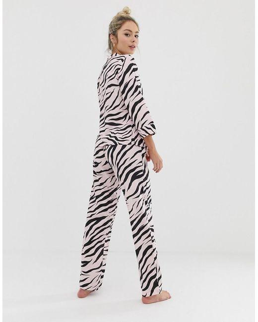 ... ASOS - Pink Zebra Print Traditional Trouser Set - Lyst 6129593c0