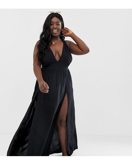 978f1aab90 ASOS - Asos Design Curve Beach Maxi Dress With Frill Strap & Plunge Neck In  Black ...