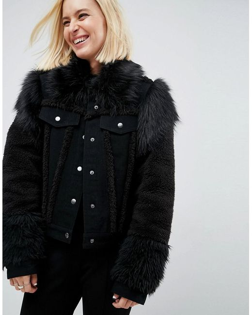 ASOS | Denim Jacket In Washed Black With Faux Fur Panels | Lyst