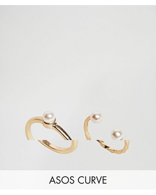 ASOS | Metallic Pack Of 2 Vintage Style Pearl Rings | Lyst
