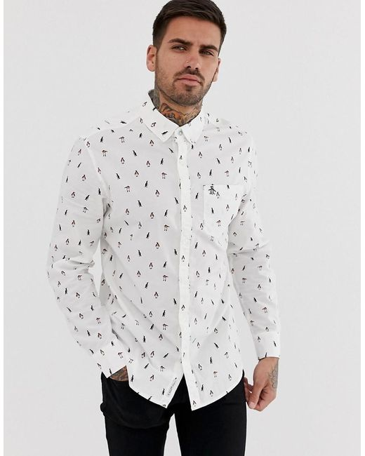 7742d714 Original Penguin - Slim Fit All Over Print Poplin Shirt With Button Down  Collar In White ...
