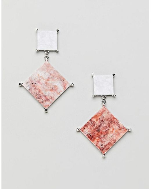 ASOS - Metallic Asos Earrings With Colored Marble Effect Recycled Cotton Stone - Lyst