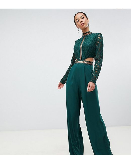 d23675707b48 ASOS - Green Asos Design Tall Premium Cut Out Lace Jumpsuit - Lyst ...