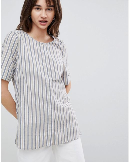 Striped Blouse With Sleeve Turn Up - Multi Selected Sale Shop Offer Fake For Sale Discount Nicekicks FjEylLftF