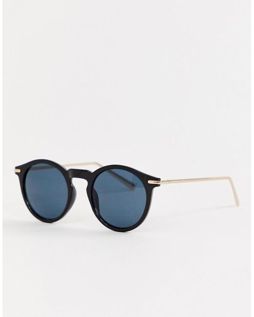 ASOS Round Sunglasses With Metal Arms In Shiny Black