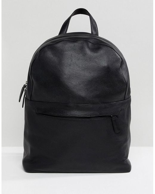 ASOS DESIGN - Leather Backpack In Black With Front Zip for Men - Lyst