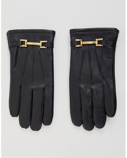 ASOS - Black Gants en cuir compatibles avec crans tactiles avec dtails mtalliques dors for Men - Lyst