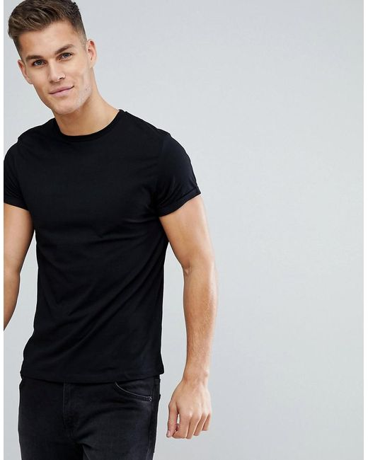 ea3d7ffa ASOS T-shirt With Crew Neck And Roll Sleeve In Black in Black for ...