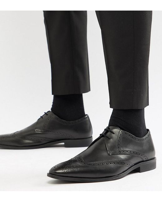 Frank Wright - Wide Fit Wing Tip Brogue Shoes In Black Leather for Men - Lyst
