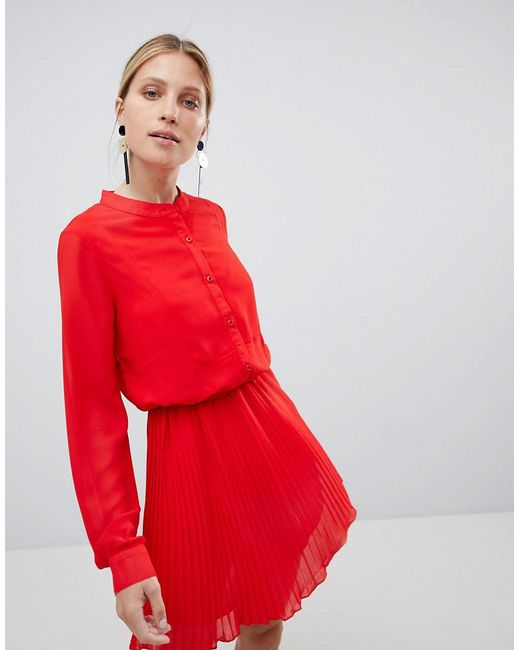 UNIQUE21 - Unique 21 Red Pleated Dress - Lyst