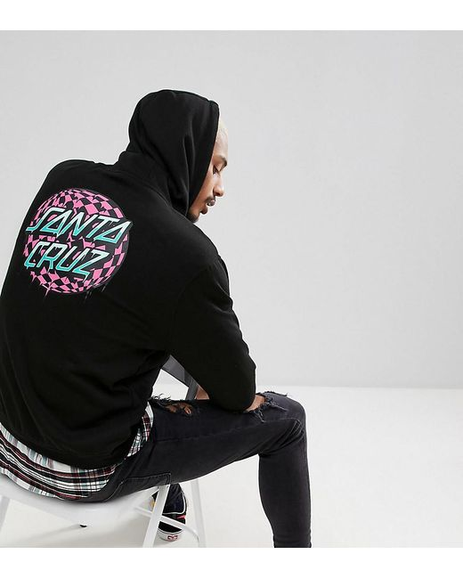 Santa Cruz - Hoodie With Check Waist Dot Back Print In Black Exclusive To Asos for Men - Lyst