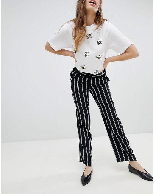 Straight Leg Striped Trousers - Black Monki E4SsGAMse