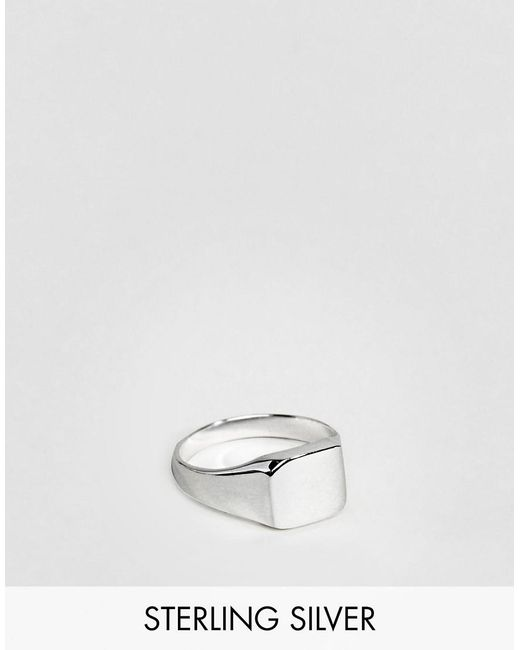 ASOS - Metallic Sterling Silver Pinky Ring for Men - Lyst