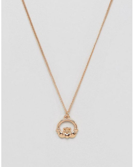 ASOS - Metallic Necklace In Gold Tone With Claddagh Pendant for Men - Lyst