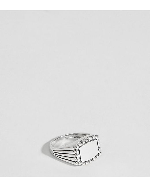Reclaimed (vintage) - Metallic Inspired Signet Ring In Sterling Silver Exclusive To Asos for Men - Lyst