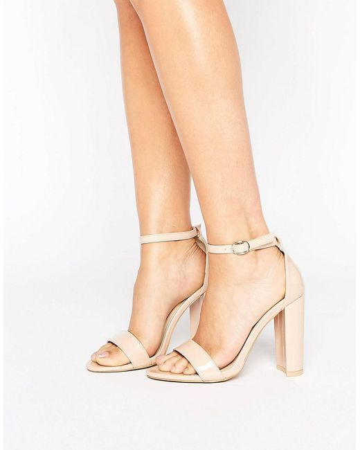 Glamorous - Natural Nude Patent Barely There Block Heeled Sandals - Lyst